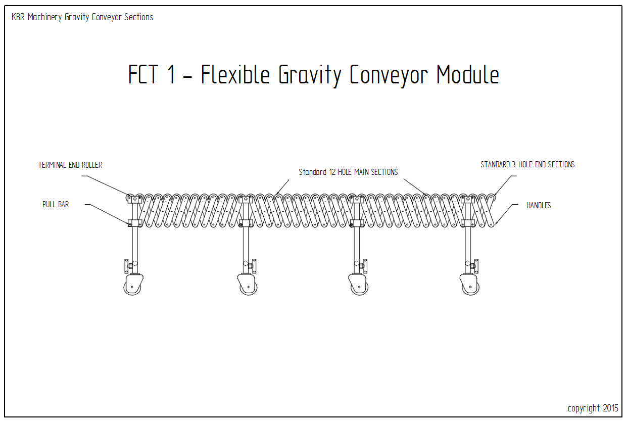 FCT 1 Flexible Gravity Roller Conveyor Module 12 Hole