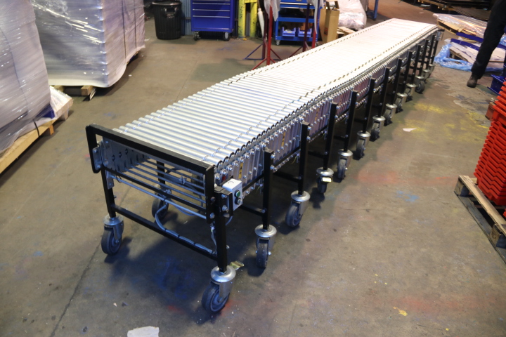 USED POWERED FLEXIBLE CONVEYOR USED POWERED ROLLER CONVEYOR USED EXPANDING POWERED ROLLER CONVEYOR