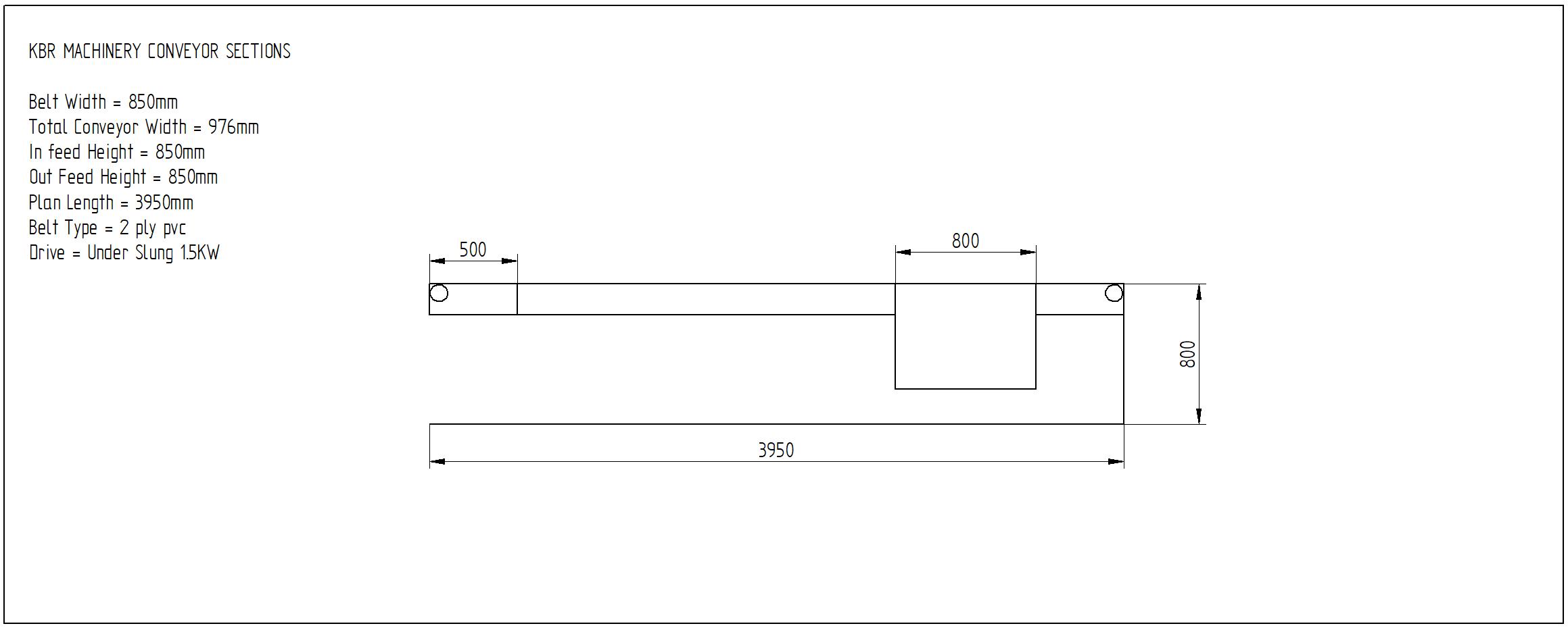 second hand flat belt conveyor 3950mm x 850mm