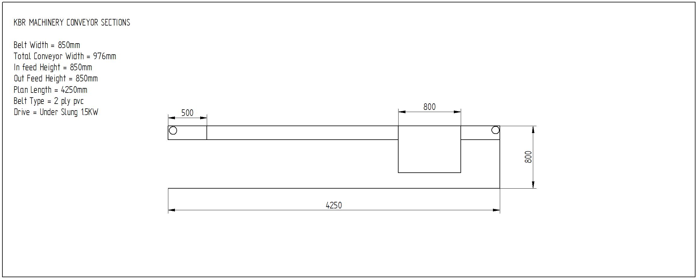 second hand flat belt conveyor 4250mm x 850mm