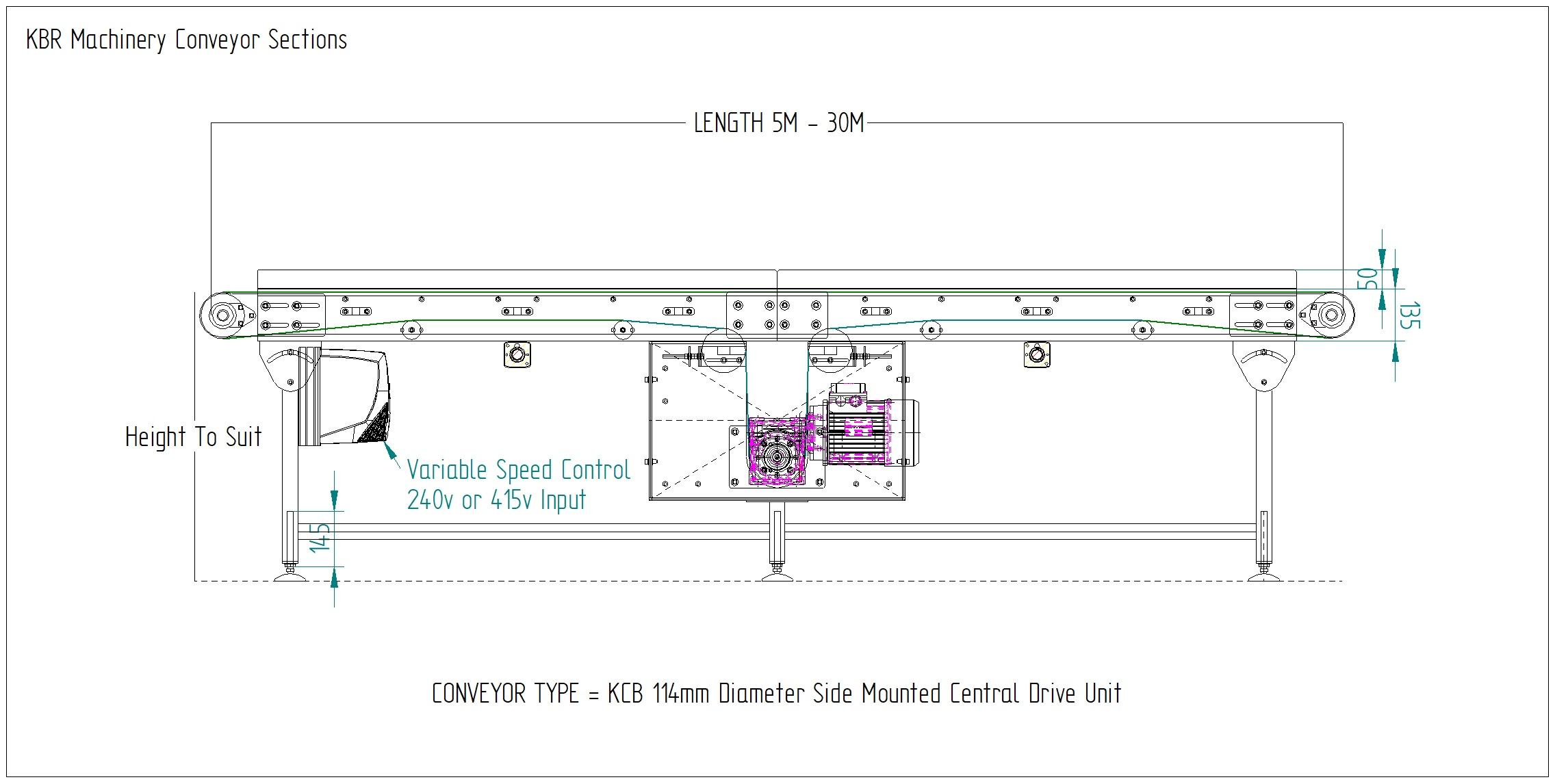 Belt Conveyor Drawing KCB 114 Central Drive Bi Directional Belt Conveyor Manufacturers