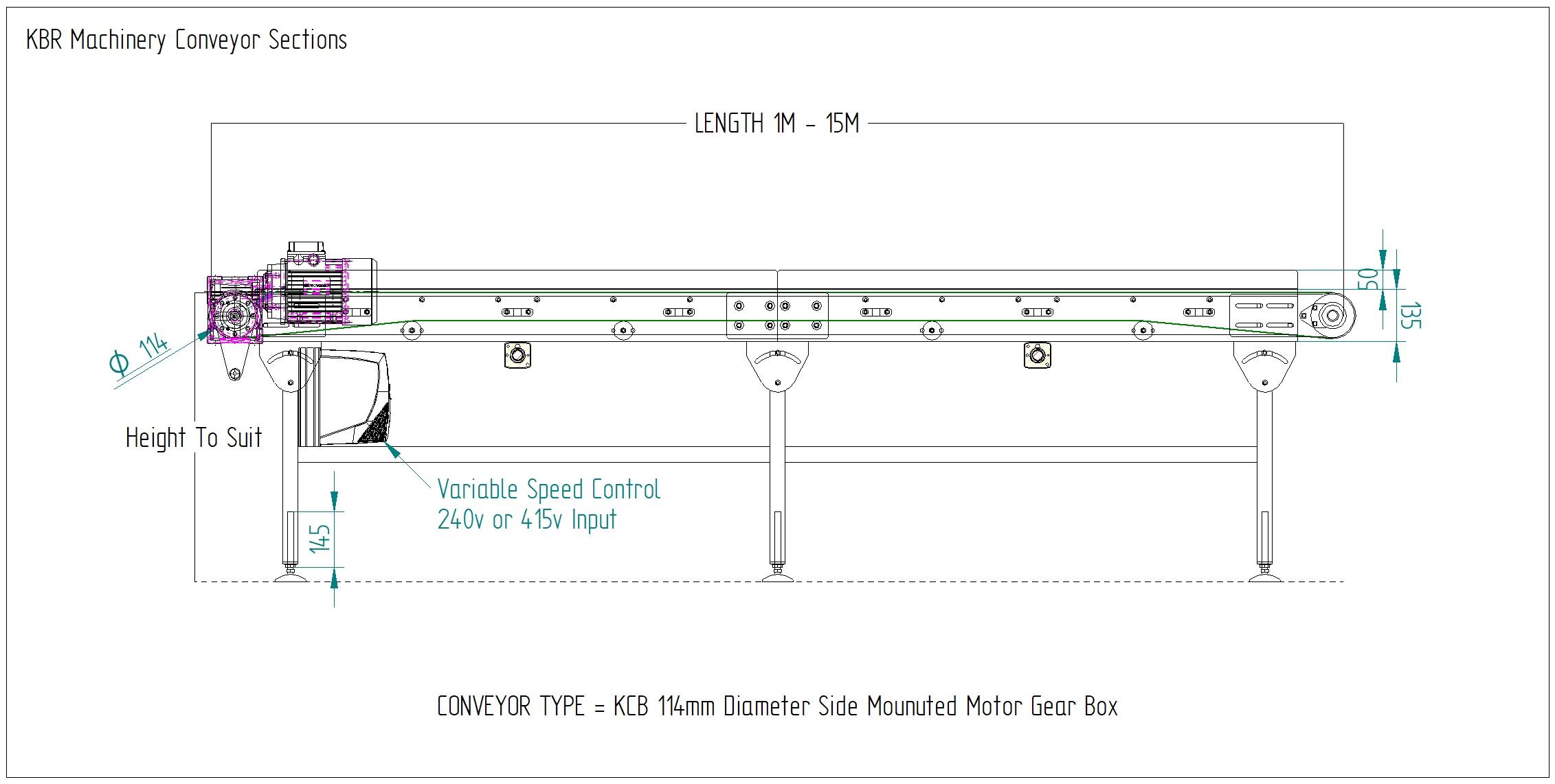 Belt conveyor drawing KCB 114 Side Mounted Motor Gear Box Belt Conveyor Manufacturers