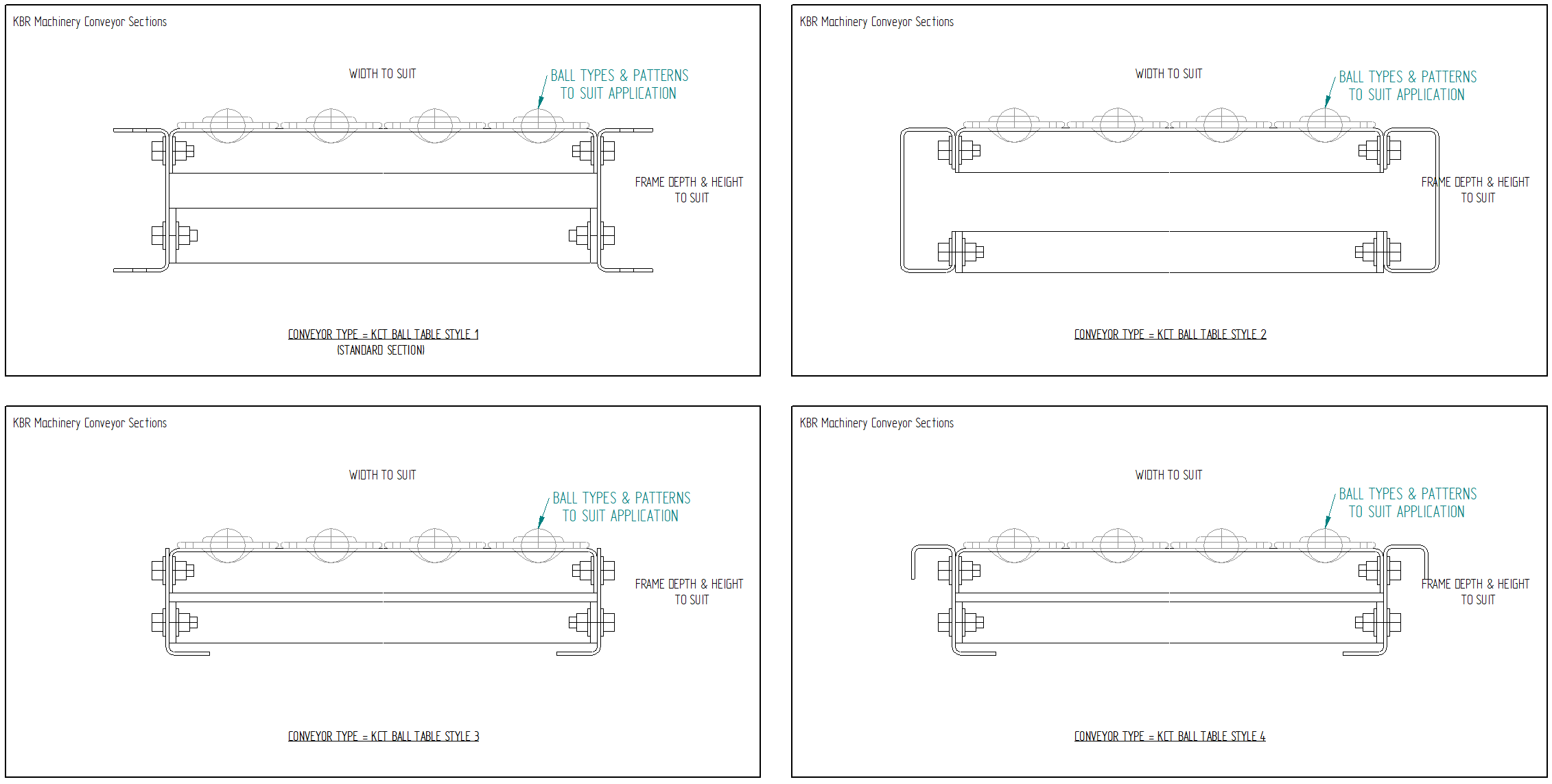 Ball Table Conveyor Types and Frame Drawings