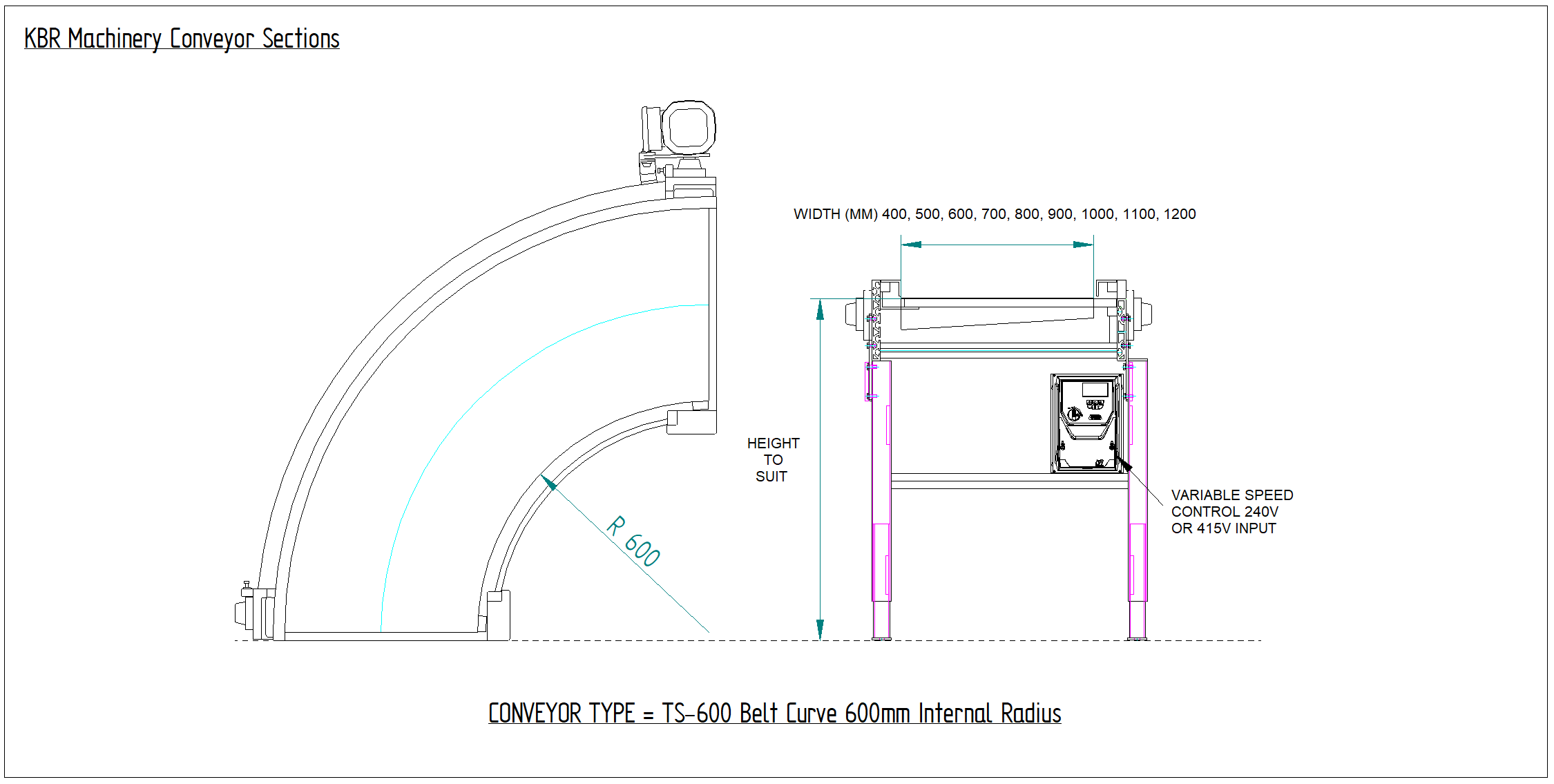 Curve Conveyor Drawing Bend CAD Drawing 2D Conveyor Curve Schematic