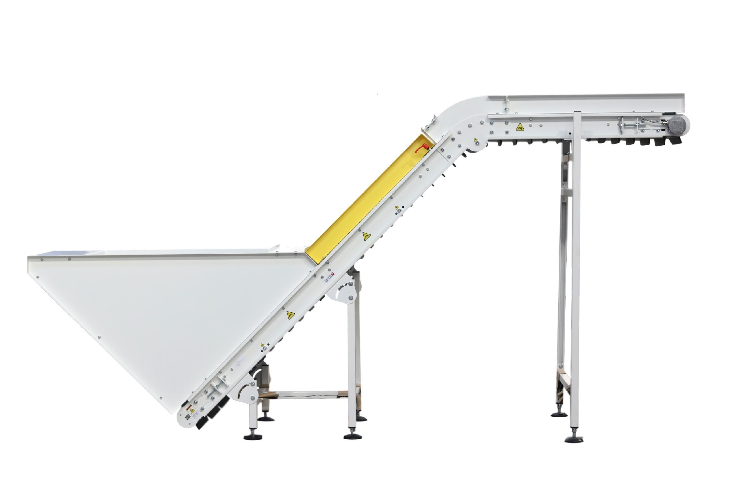 Inclined Elevator Conveyor Incline Belt Conveyor with Flights Cleated Belt Incline Nose Over