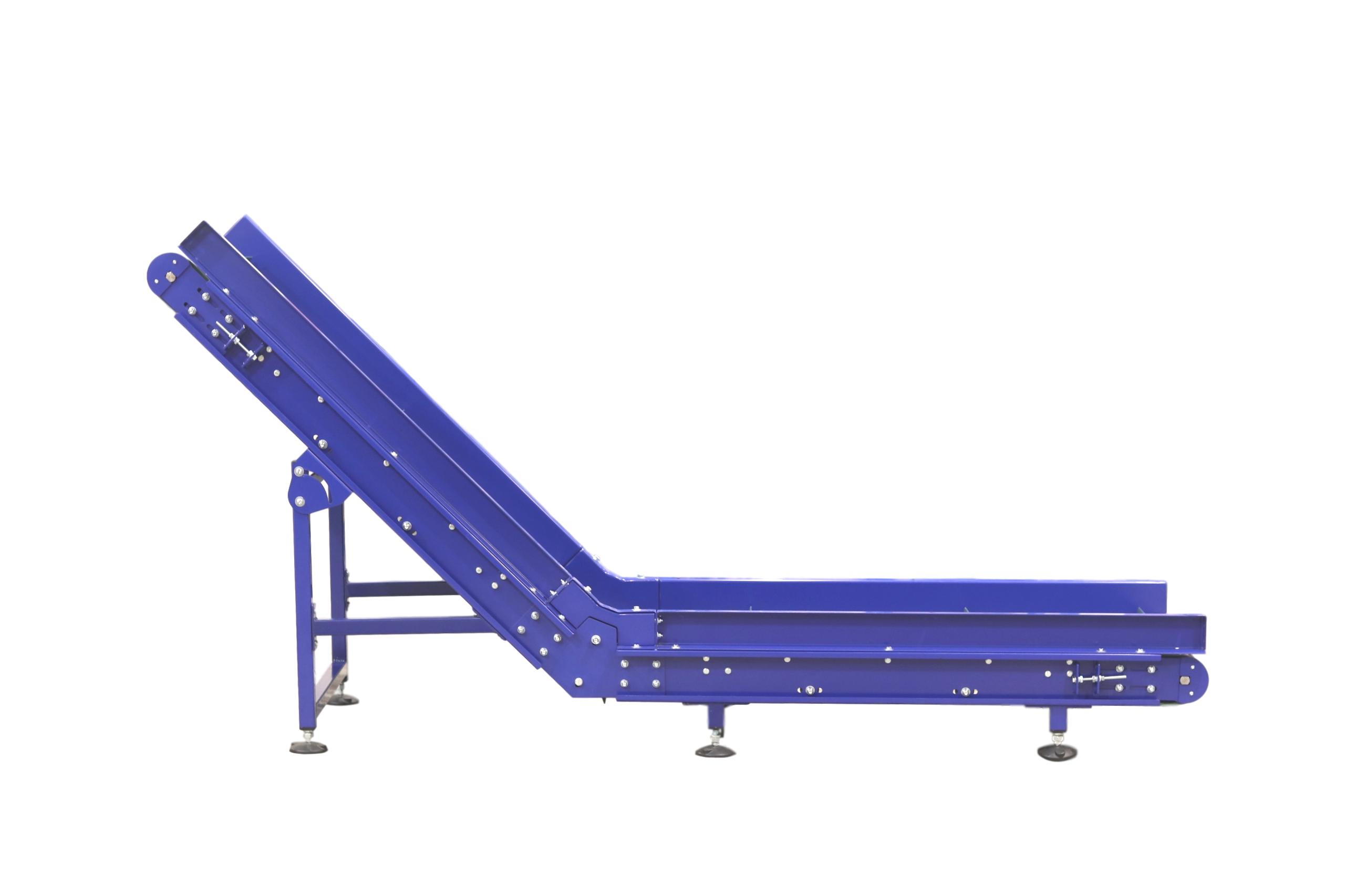 Inclined Infeed conveyor swan conveyor out feed conveyor with flighted belting cleated belt