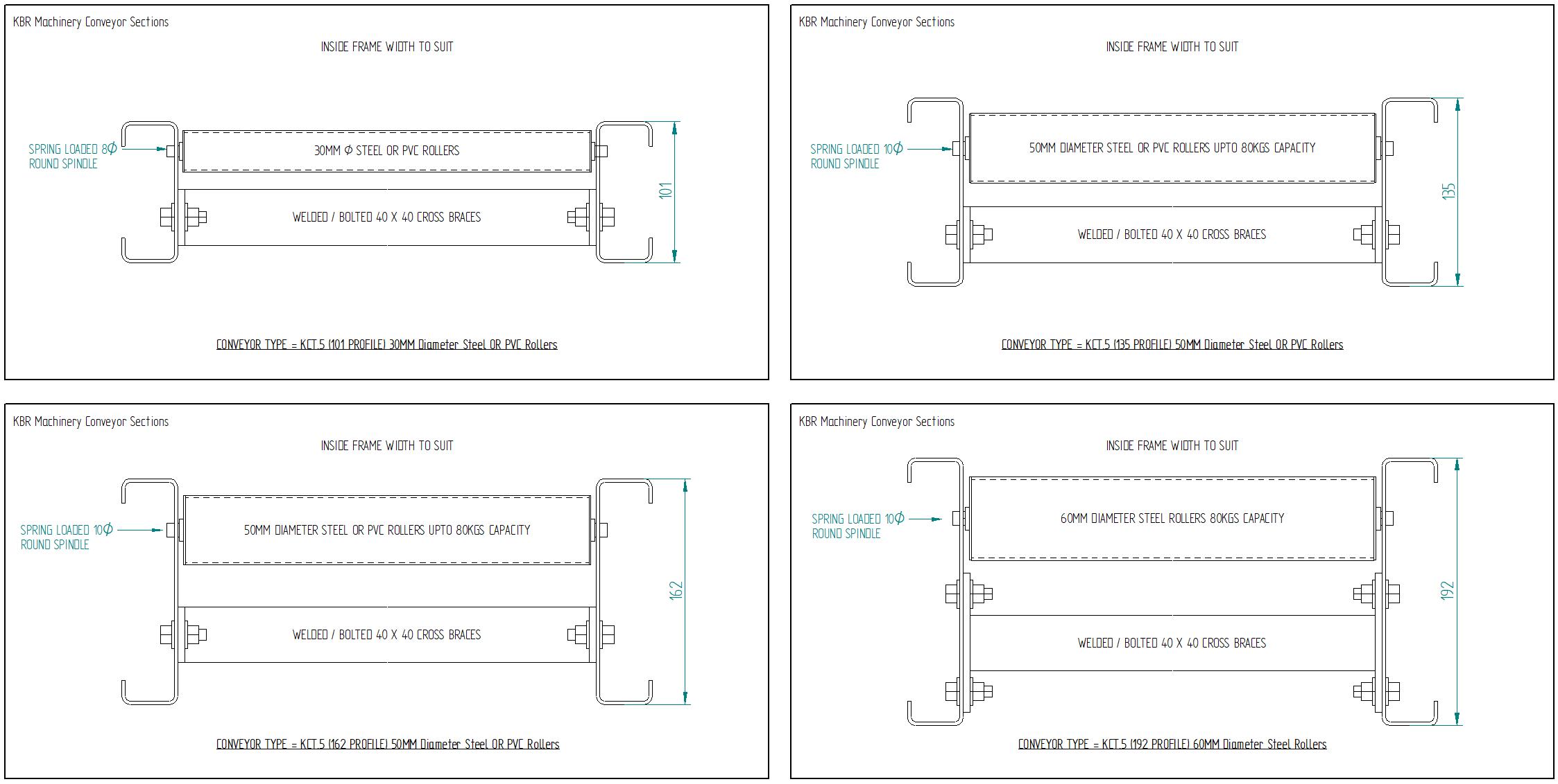 Steel Gravity Roller Conveyors Steel Painted 50mm diameter rollers Drawings