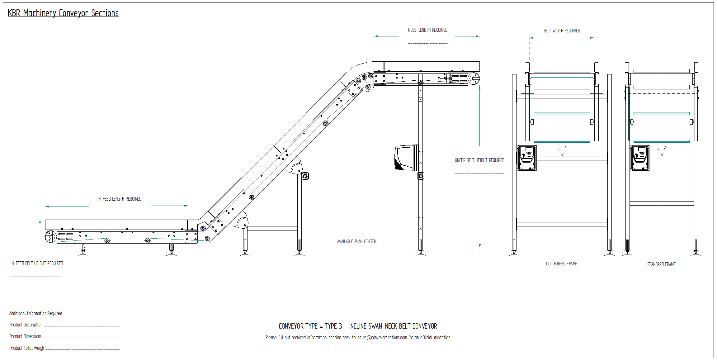 Swan neck conveyor drawing Incline Swan neck conveyor elevator Angle Conveyors Injection moulding conveyor