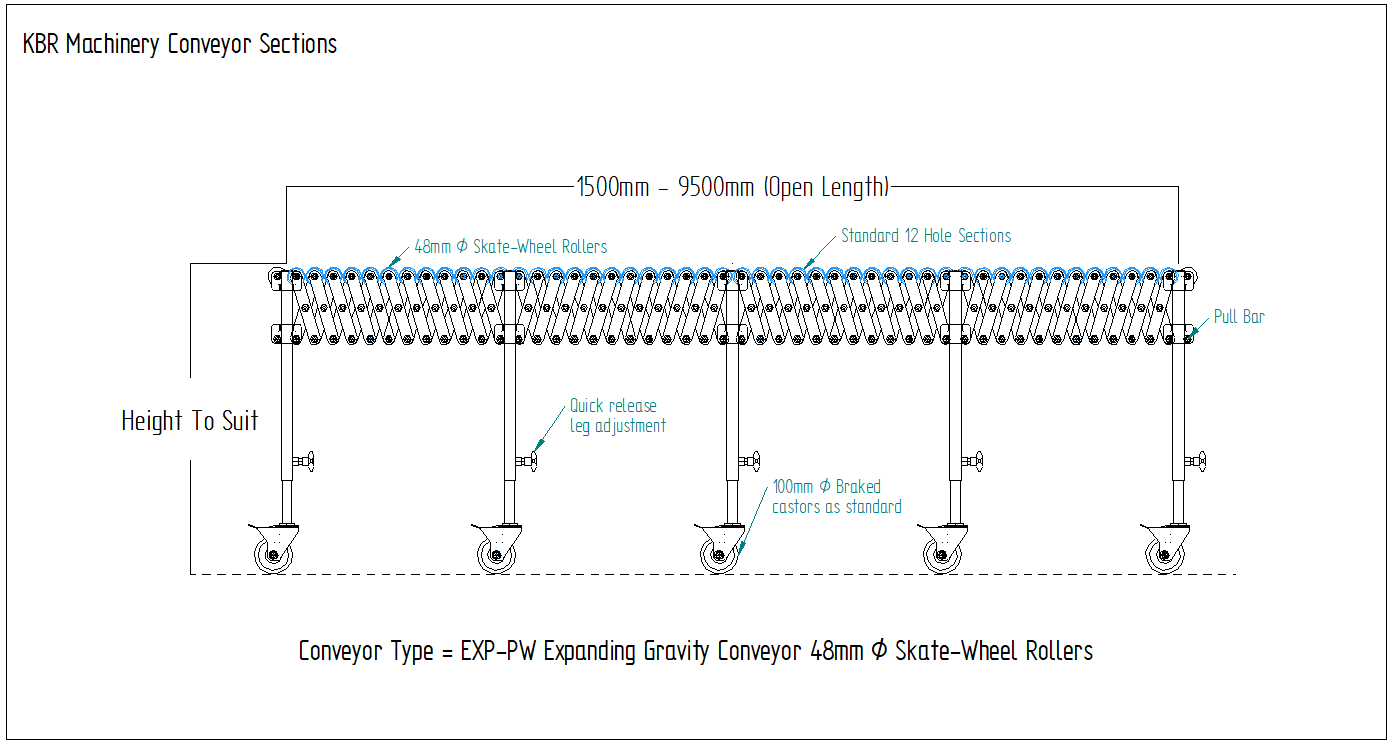 Flexible expanding conveyor drawing cad drawing