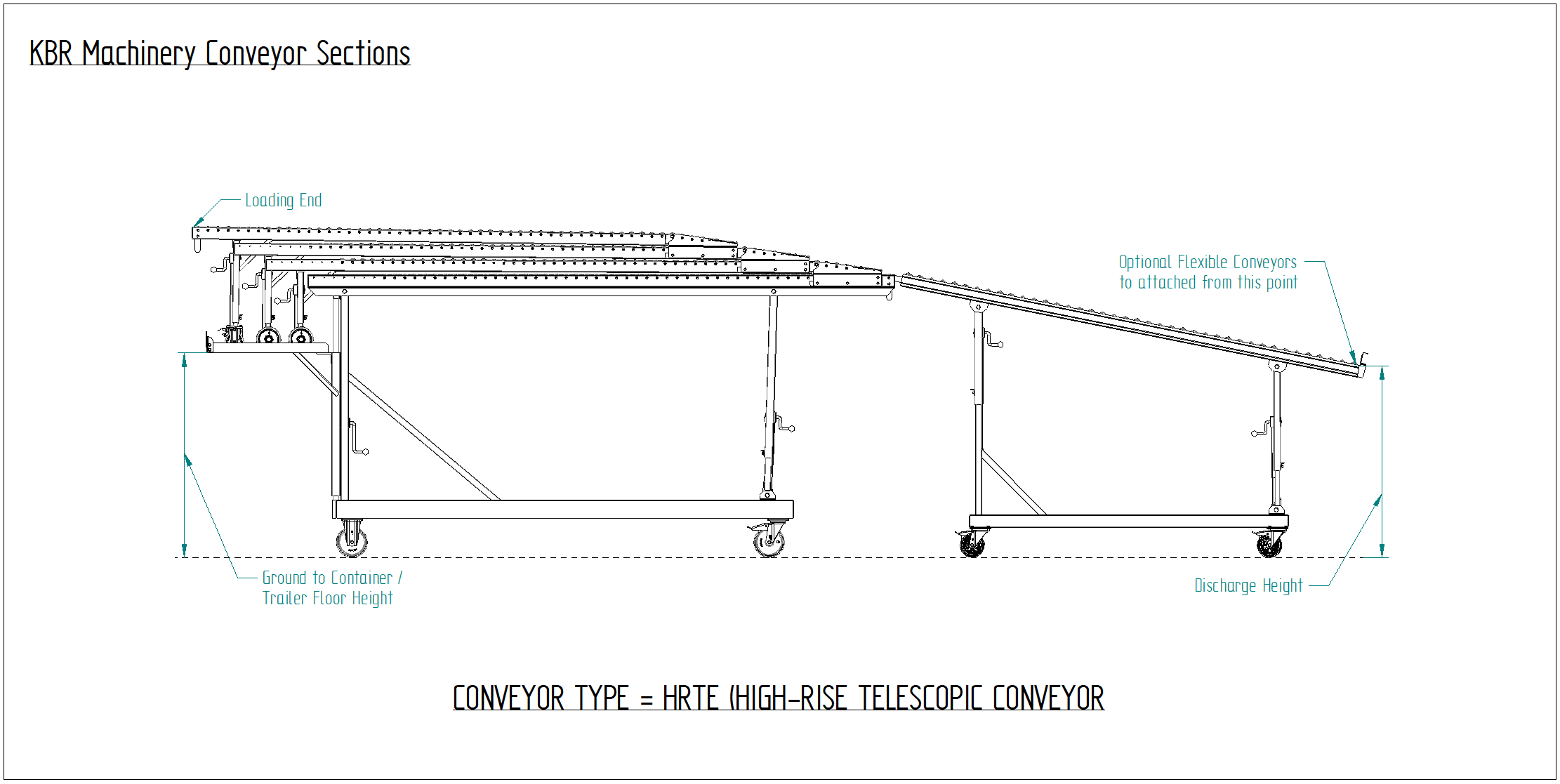 High level telescopic gravity vehicle unloading conveyor drawing for unloading containers and trailers from floor level to the back of the vehicle