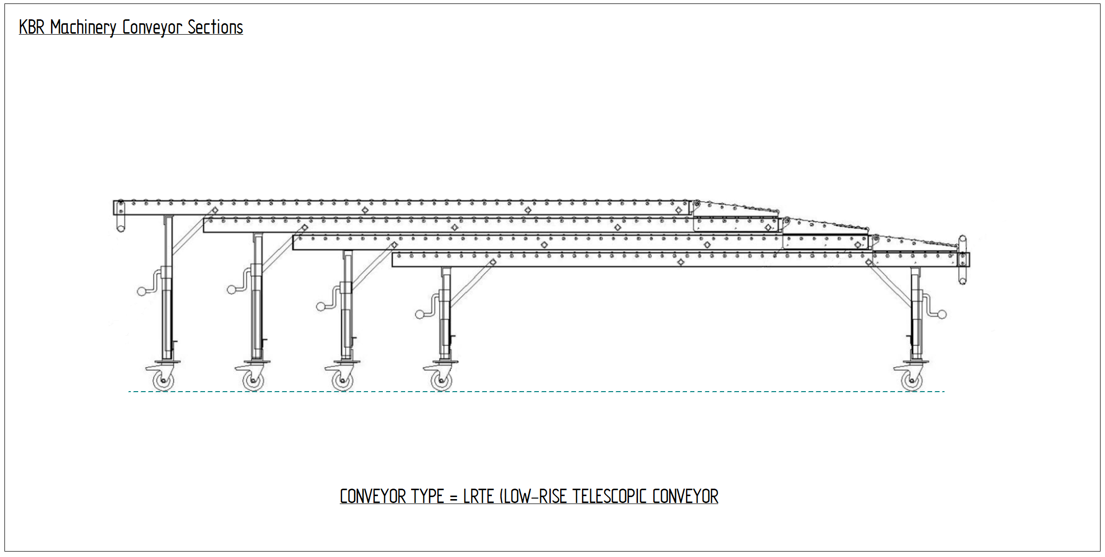 Telescopic Vehicle Conveyor Design Drawing for Unloading Containers and Articulated Vehicles from a level dock or platform