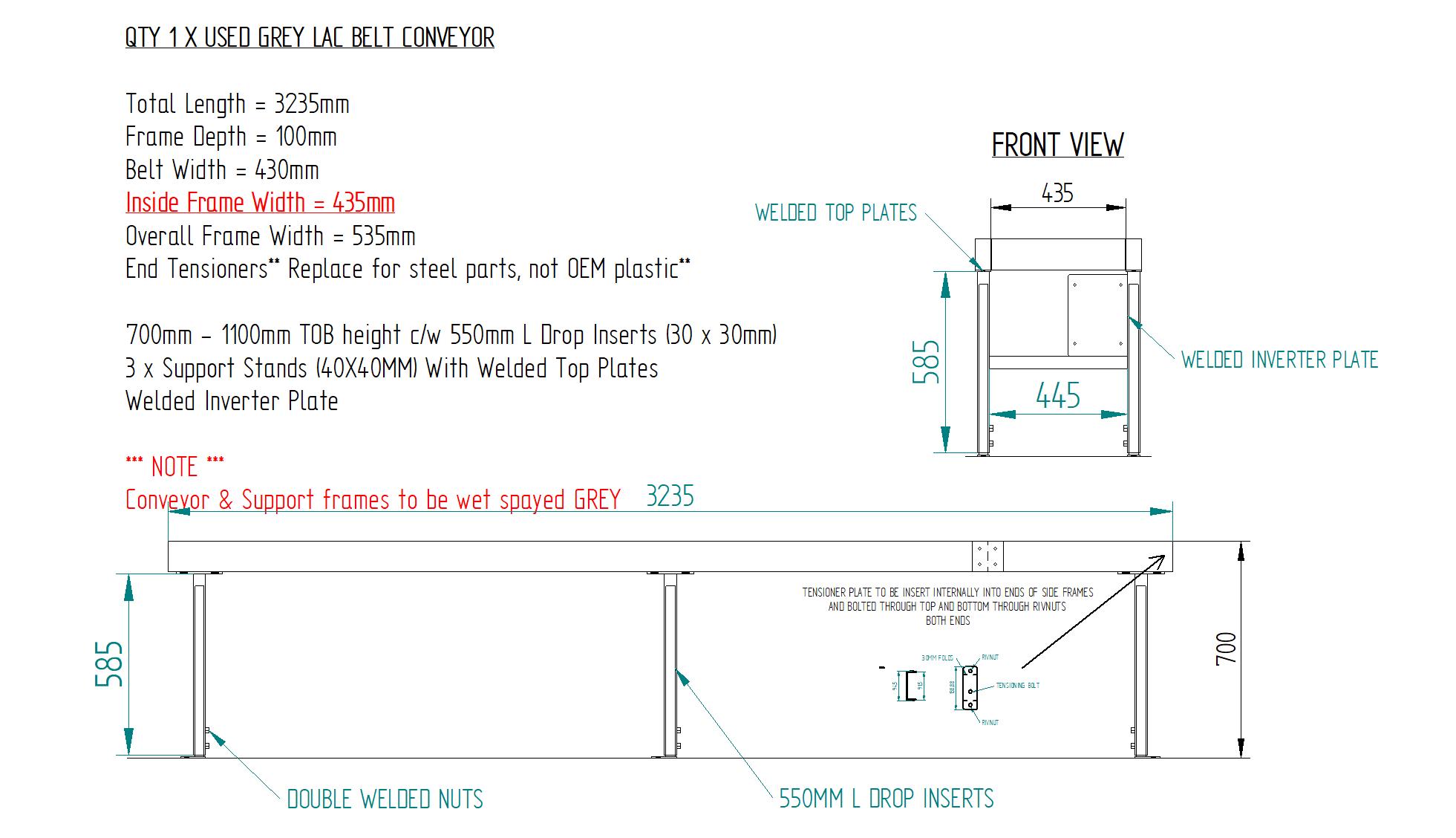 Workshop Drawing 3235mm L x 430mm W Used AV Birtch Conveyor