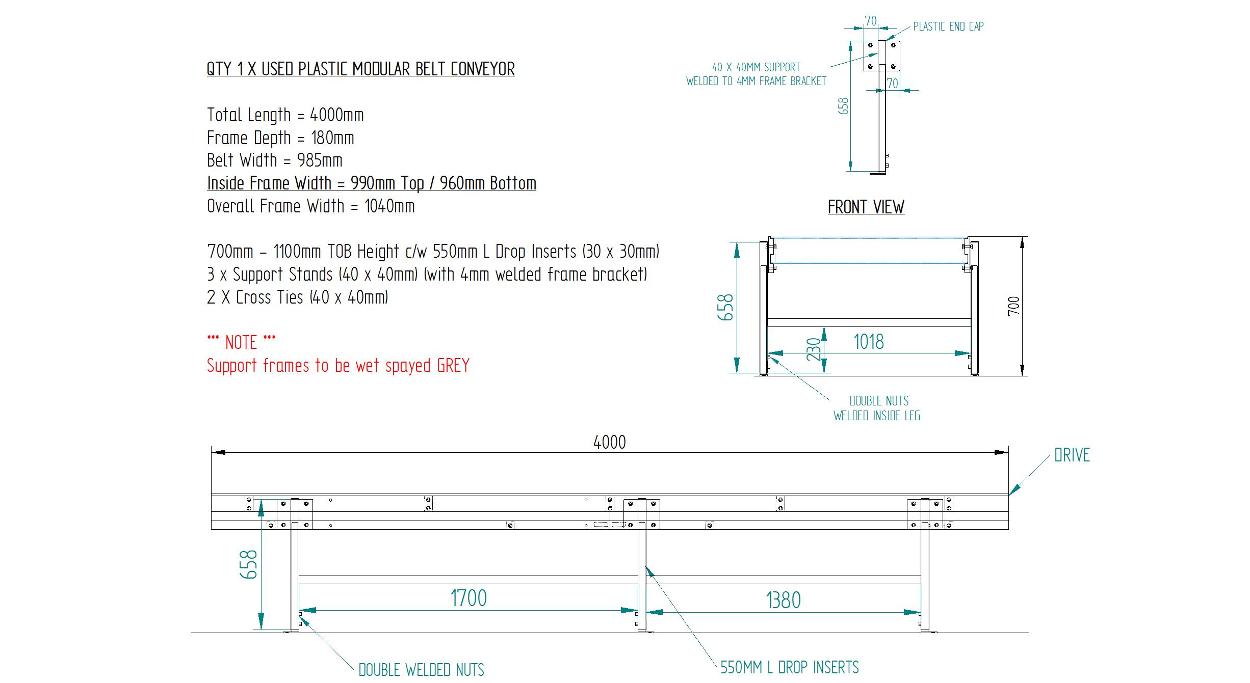 Workshop Drawing 4000mm L x 985mm W Used Plastic Modular Belt Conveyor